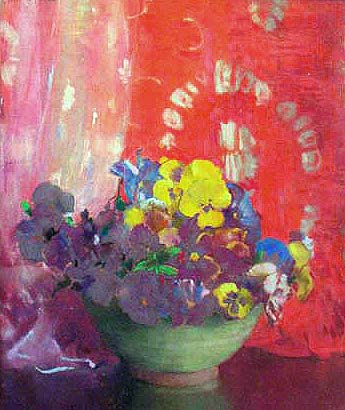 Hills, Laura Coombs - Pansies and Red