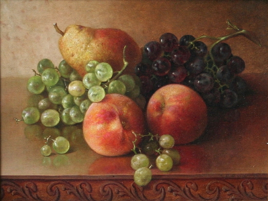 Zuill, Abbie - Tabletop Still Life of Grapes, Pears, and Peaches 550